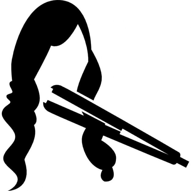 長い女性の髪にストレートヘアアイロン 無料アイコ... 長い女性の髪にストレートヘアアイロン ア