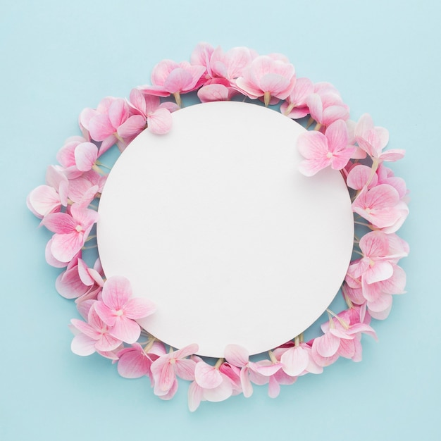 Flat lay pink hydrangea flowers with blank circle Free Photo