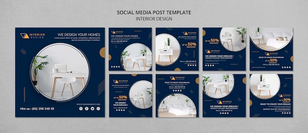 Interior design social media posts template Free Psd