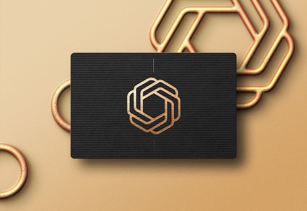Modern logo mockup on black business card Premium Psd