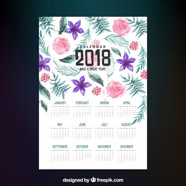 2018 calendar with watercolor flowers Vector | Free Download