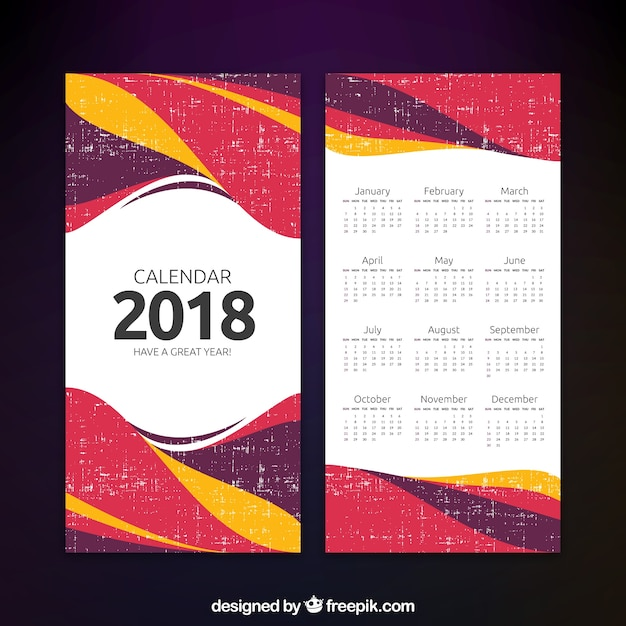 abstract 2018 calendar template Vector | Free Download