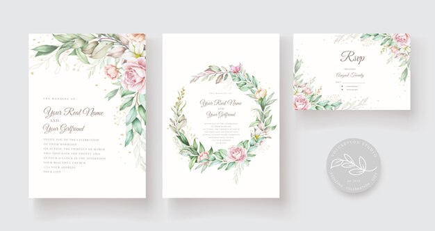 Beautiful hand drawn wedding card template Free Vector