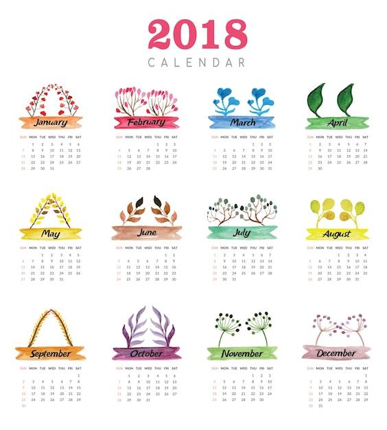 Календарь в векторе на 2018
