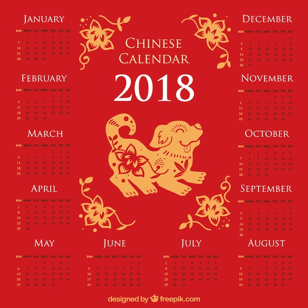 Chinese new year 2018 calendar Vector | Free Download