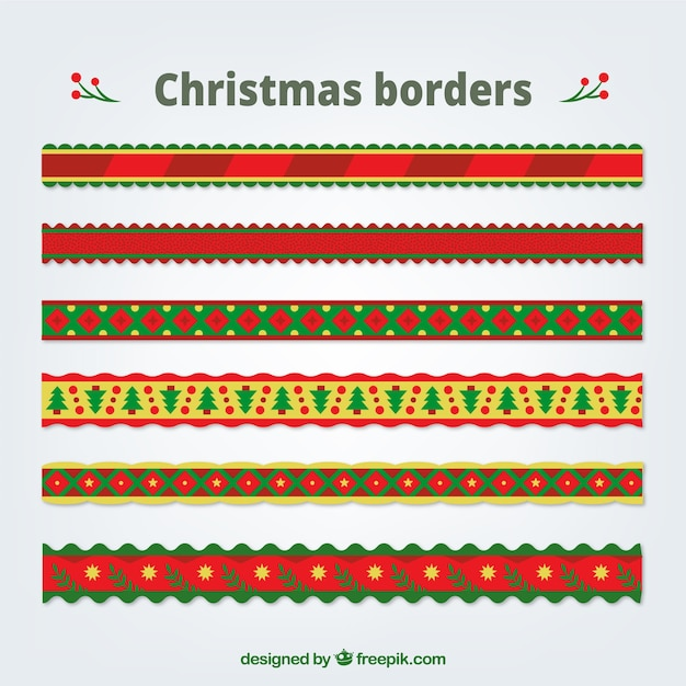 Collection Of Decorative Christmas Borders Free Vector