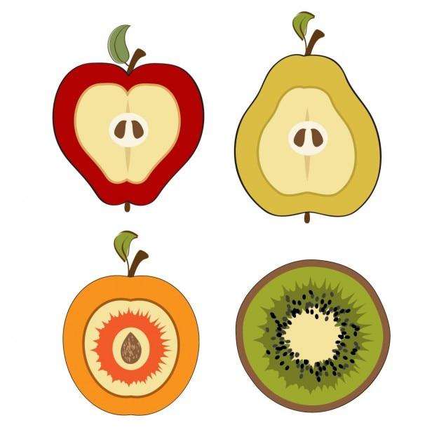 Рисунки разрезанных яблок
