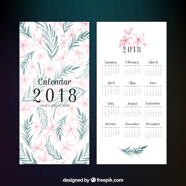 Decorative 2018 calendar with flowers in watercolor style Vector ...