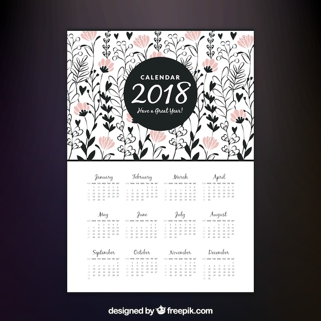 Decorative 2018 calendar with pink flowers Vector | Free Download