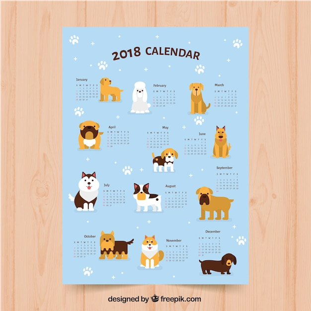 Dogs 2018 calendar template Vector | Free Download