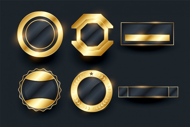 Empty golden badges and labels elements collection Free Vector