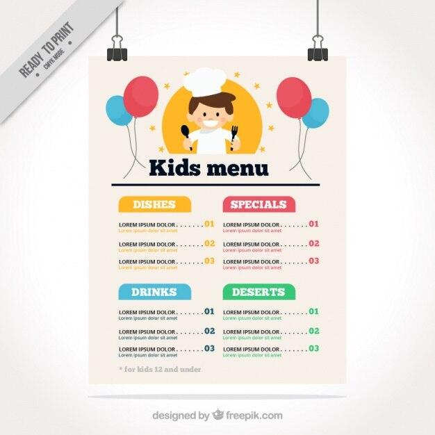 Kids drinks menu