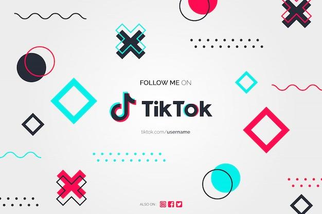 Follow me on tiktok background in memphis design style Free Vector