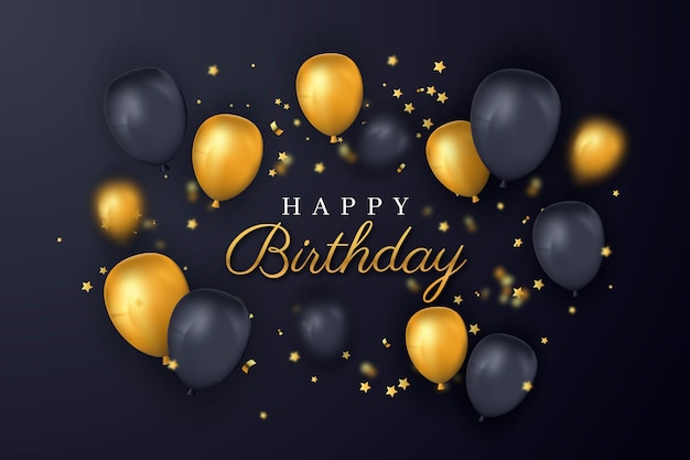 Happy birthday gold and black balloons Free Vector