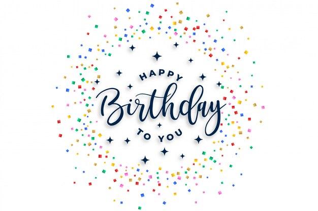 Happy birthday to you celebration confetti design Free Vector