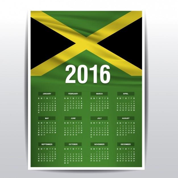 Jamaica calendar of 2016 Vector | Free Download