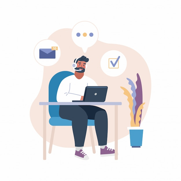 Man with headset working with laptop Premium Vector