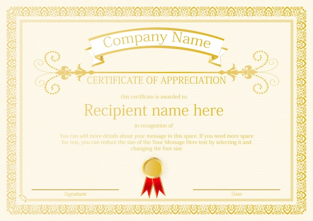 Certificate Outline Template