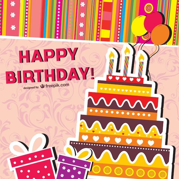 Открытка на день рождения в векторе 93