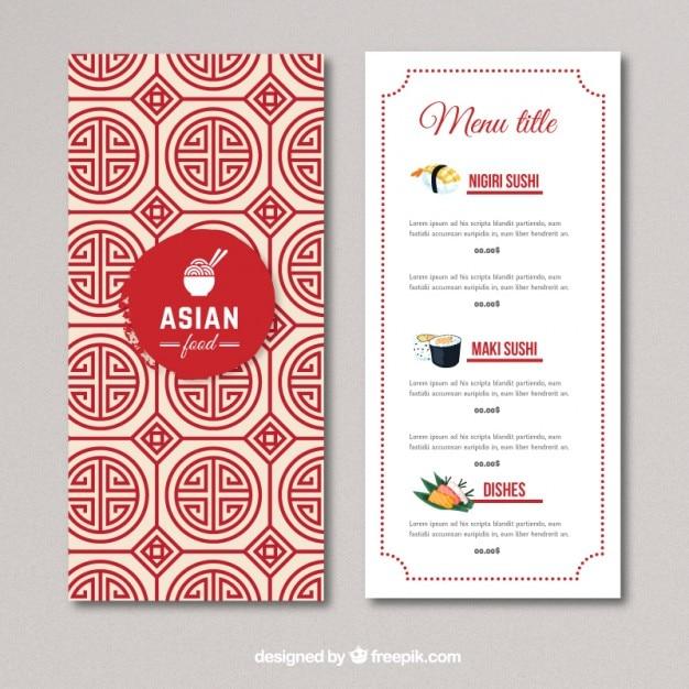 Asian menu design ideas