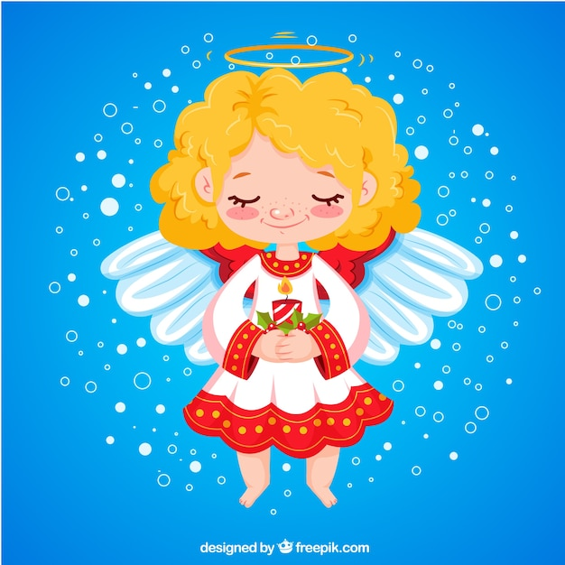 Рисунок ангелочек с подарком