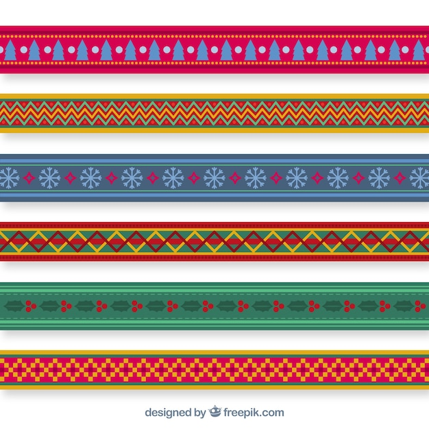 Pack Of Decorative Christmas Borders Free Vector