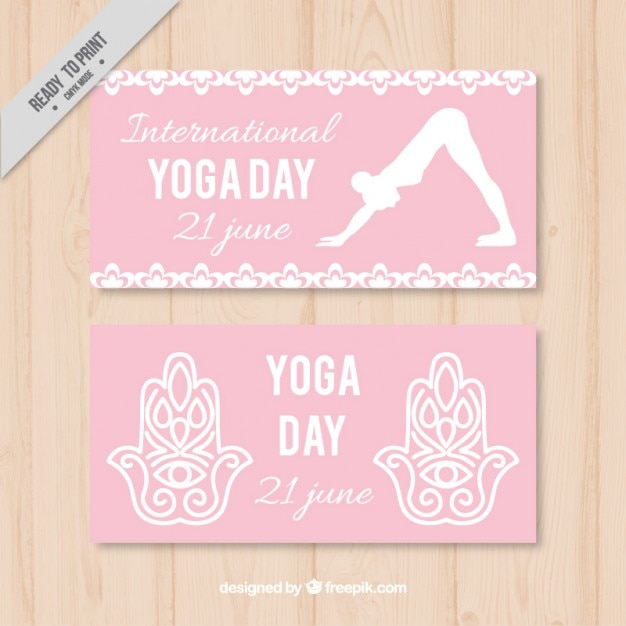 Pink yoga day banners