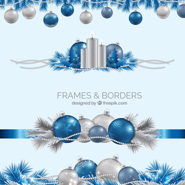 Realistic Blue And Silver Christmas Borders Free Vector