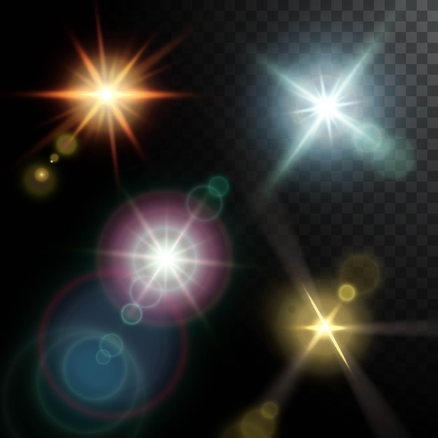 Realistic lens flares beams of golden pink blue orange colors on black half transparent Free Vector