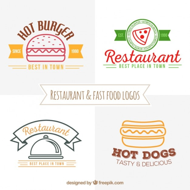Fast food restaurant logos collage