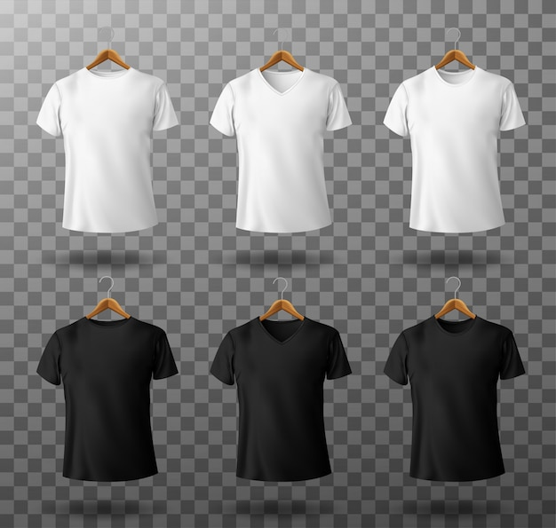 T-shirt mockup black and white male t shirt with short sleeves on wooden hangers template front view. Free Vector