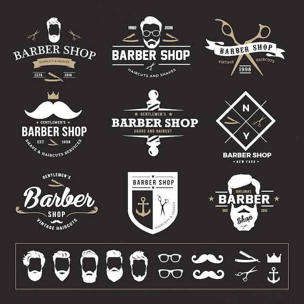 Set of vintage barber emblems  Logo Templates  Creative