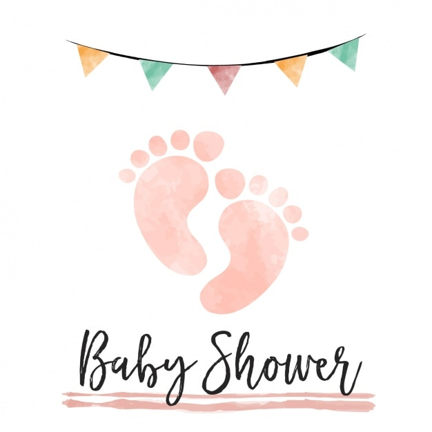 Watercolor Baby Shower Card With Footprints Free Vector