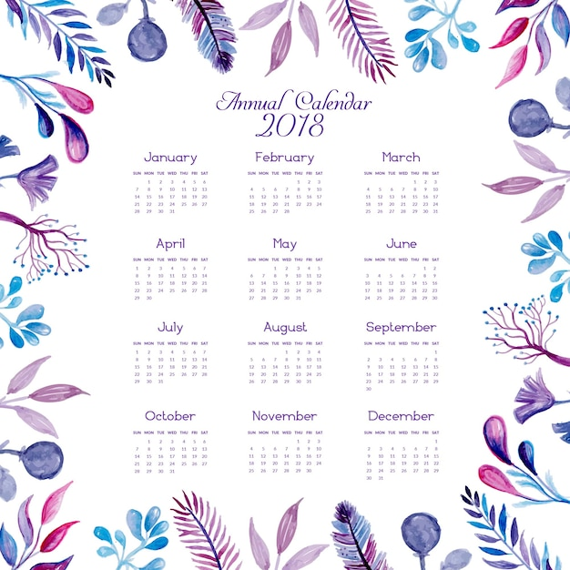 Watercolor blue and pink floral calendar 2018 Vector | Free Download