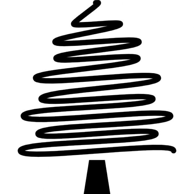 Choinka Z Nieregularnym Rysunek Ołówkiem Linii Ikony Darmowe
