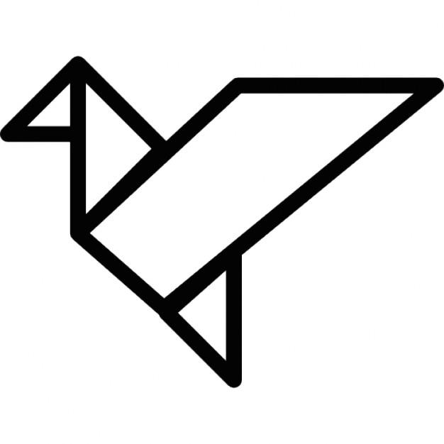 Origami Ptak W Locie Zarysie Ikony Darmowe Pobieranie