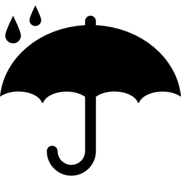 Symbol ochrony otwarty parasol pod deszczu sylwetka Darmowe ikony