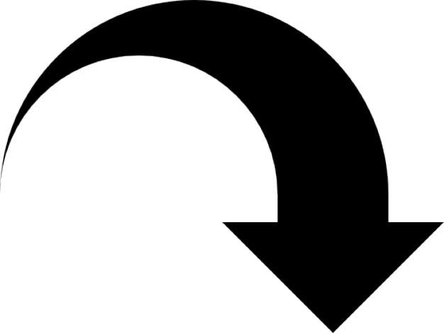 Zakrzywione punkt strzałka w dół Darmowe ikony