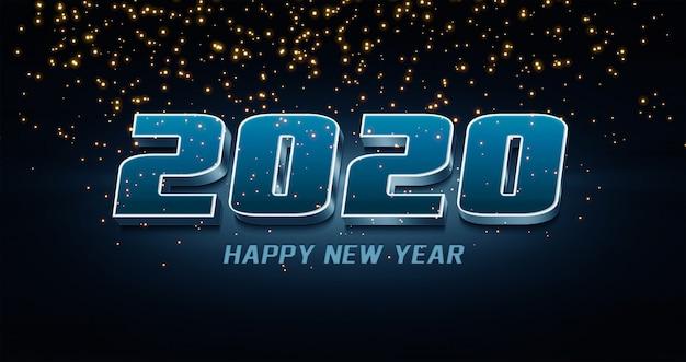 2020 Szczęśliwego Nowego Roku Efekt Stylu Tekstu 3d Premium Psd