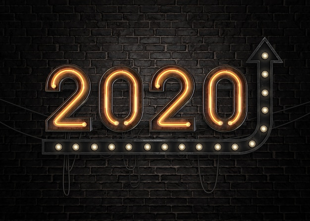 2020 Szczęśliwego Nowego Roku Neonowy Znak Premium Psd