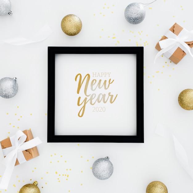 2020 Szczęśliwego Nowego Roku Ramki Z Prezentami Wokół Darmowe Psd