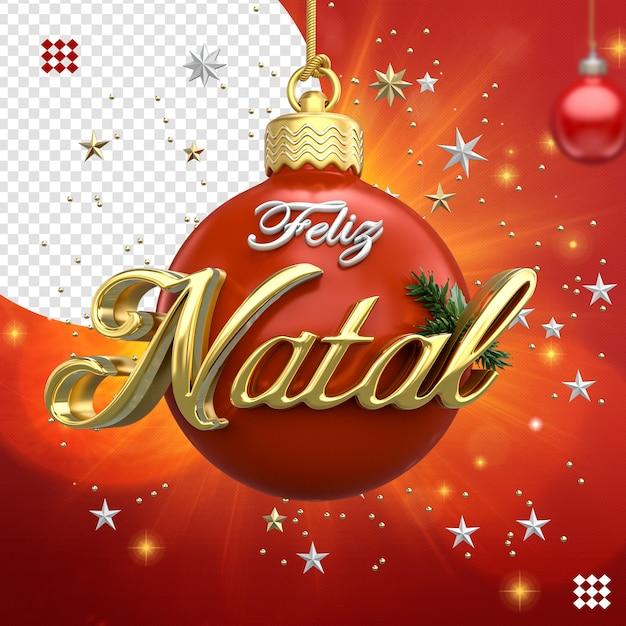 3d Boże Narodzenie Piłka Logo Z Gwiazdami Na Białym Tle Premium Psd