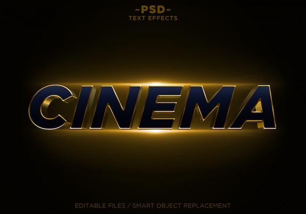3d Cinema Glitter Golden Effects Tekst Edytowalny Premium Psd