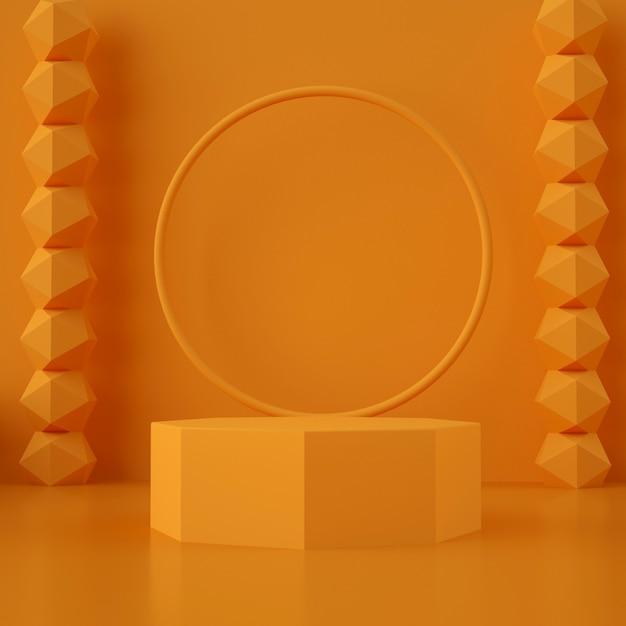 3d Geometryczna Pomarańczowa Scena Do Lokowania Produktu Premium Psd