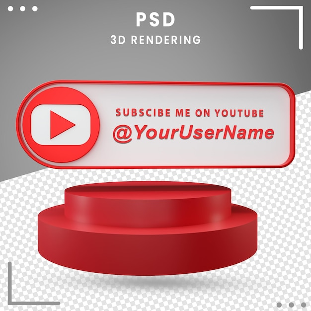 3d Ikona Makiety Mediów Społecznościowych Projekt Youtube Premium Psd