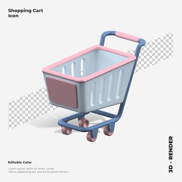 3d Ikona Renderowania Koszyka Na Zakupy Na Białym Tle Premium Psd
