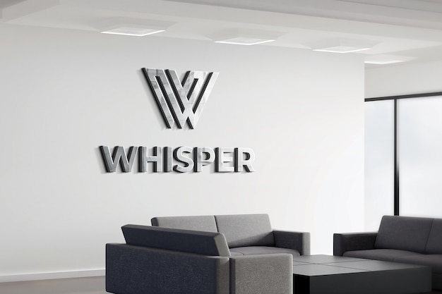 3d Logo Makieta Realistyczny Znak Biurowy Biała ściana Premium Psd