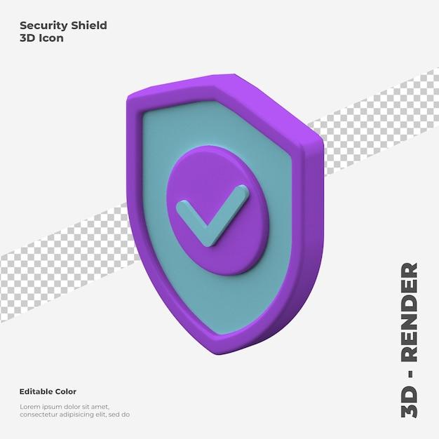 3d Makieta Ikona Tarczy Bezpieczeństwa Na Białym Tle Premium Psd