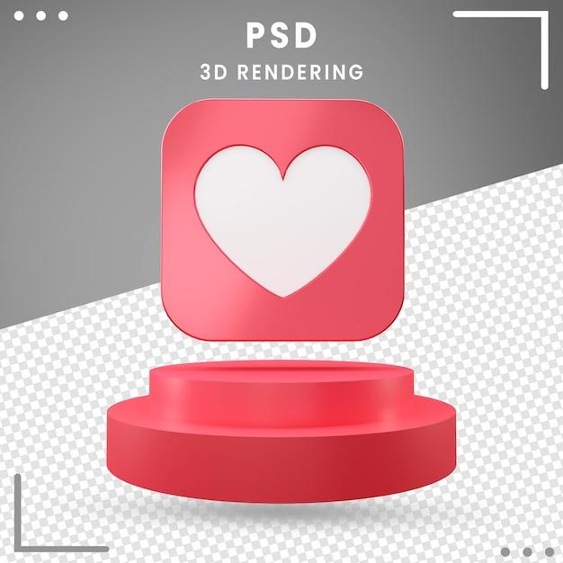 3d Obrócona Ikona Czerwony Miłość Design Premium Psd