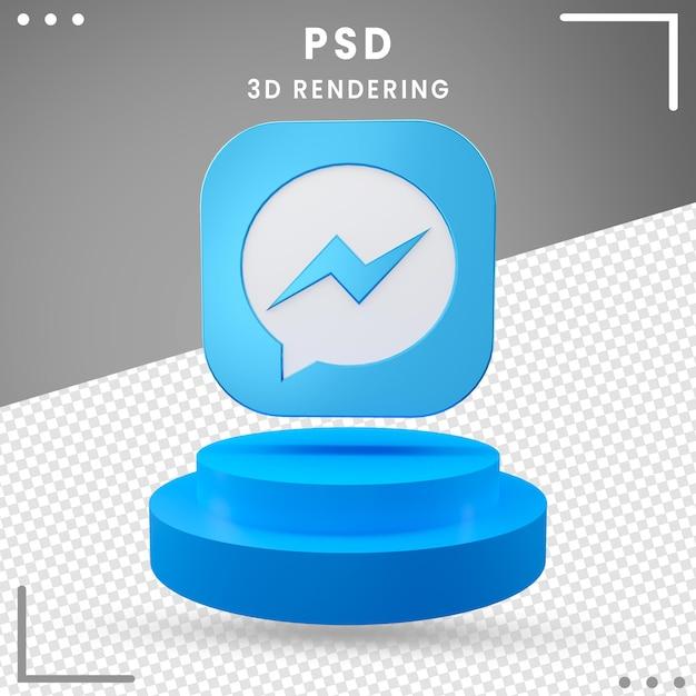 3d Obrócone Logo Ikona Messenger Design Premium Psd